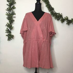 Lane Bryant Pink & Silver Cross Over Blouse